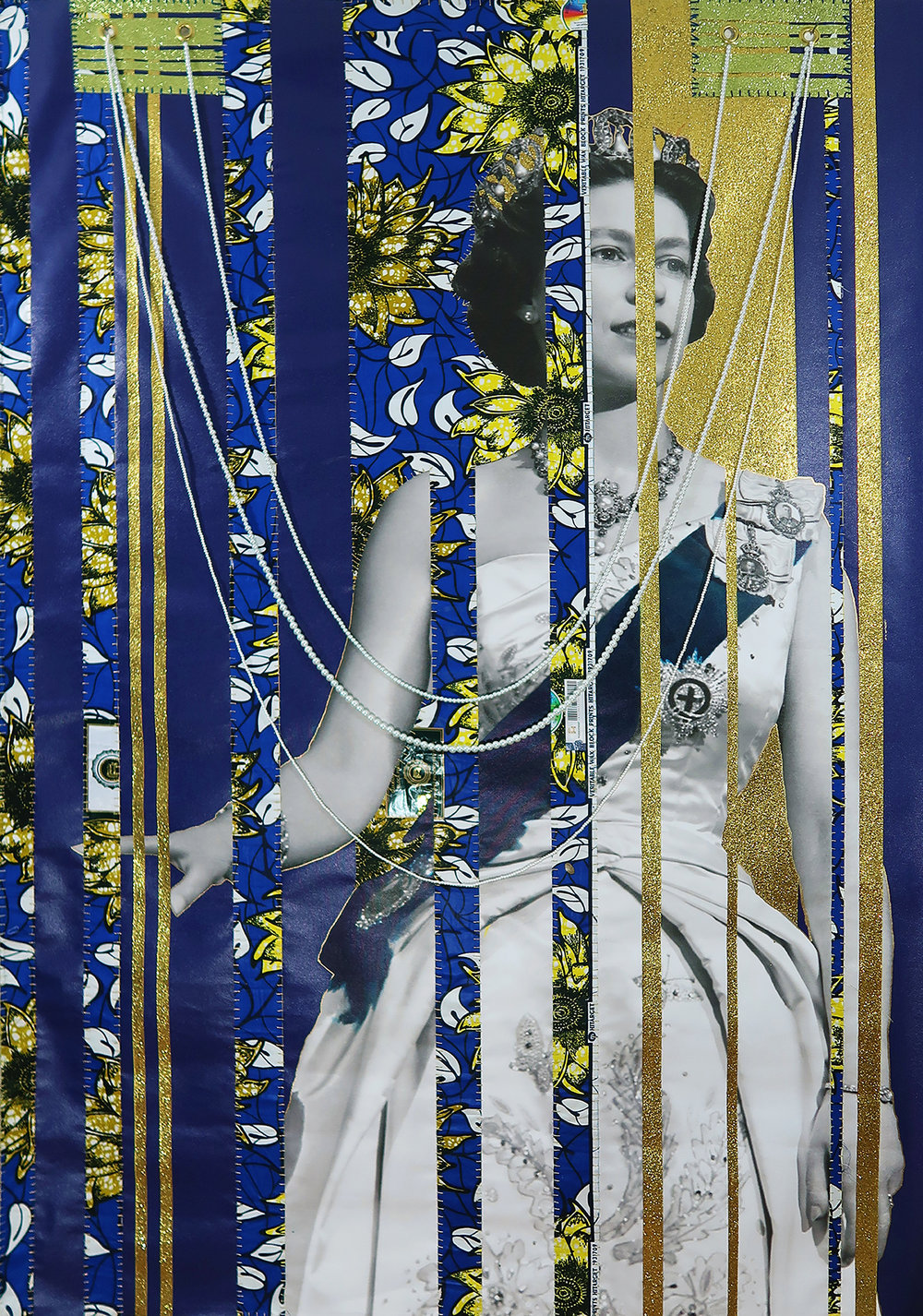 """Power Girl (Incarceration Queen), 2018. April Bey, """"African"""" Chinese knock-off wax fabric, hand-sewn into canvas with drawing ink, Chinese knock-off pearls, made-in-China thread and needles. 72"""" x 48"""". Images courtesy of the artist."""