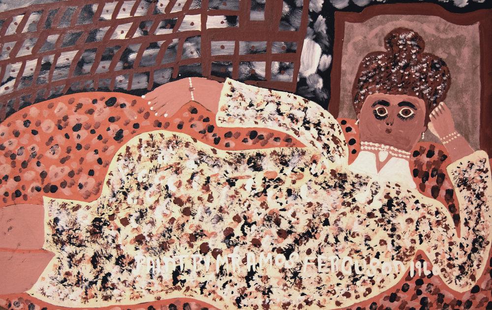 """""""Woman Reclining on a Sofa"""" (1960), Amos Ferguson, house paint on cardboard, 12"""" x 19"""". The D'Aguilar Art Foundation Collection."""