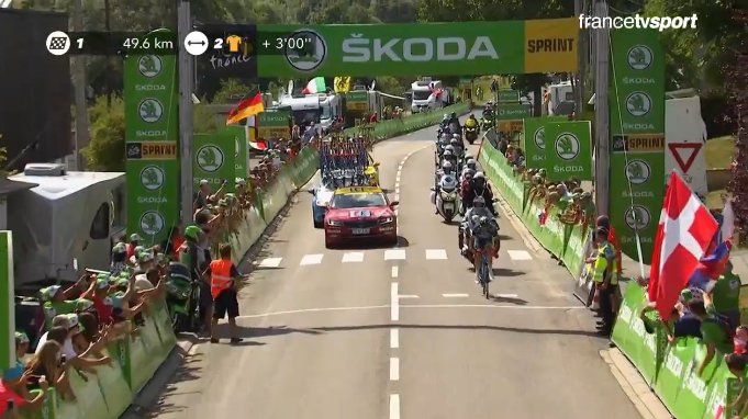 Van Keirsbulck wins the intermediate sprint
