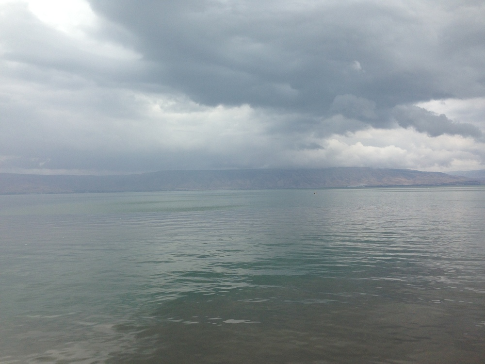 The Sea of Galilee in the town of Tiberias, Israel
