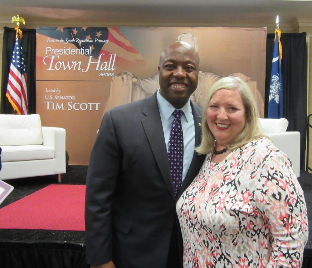 Sandra Bryan with U.S. Senator Tim, Scott