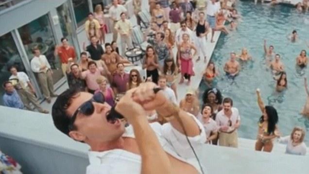"Leonardo DiCaprio playing Jordan Belfort in the ""Wolf of Wallstreet"" film"