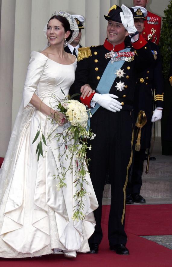 Crown Prince Frederik And Mary Of Denmark on their wedding day in Copenhagen, Denmark - 2004