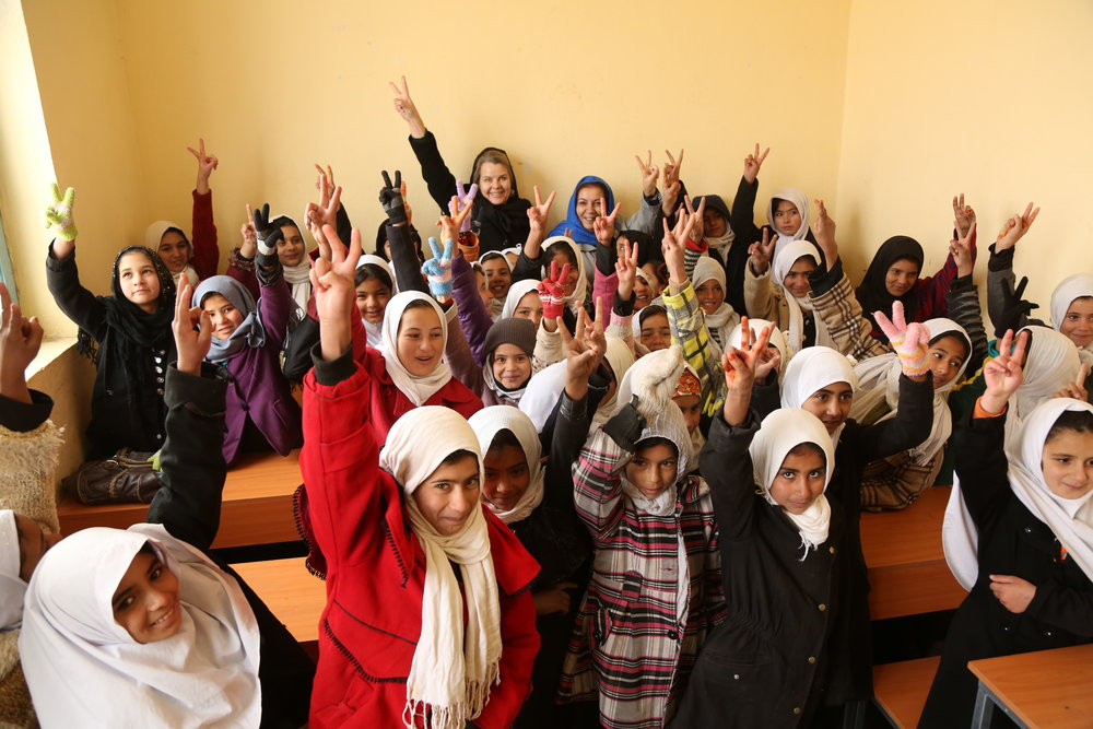 Mari with Adele Khodr, Representative, UNICEF Afghanistan  Photo Credit: Mahdy Mehraen, UNICEF