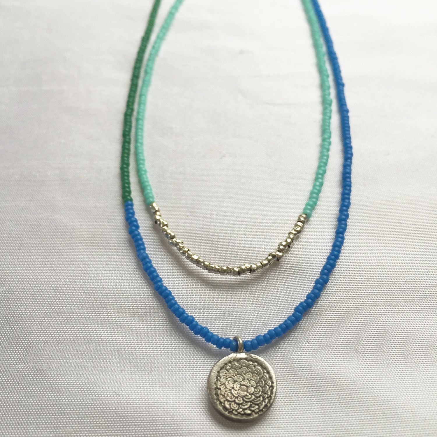 Beaded Necklace Set One Banded And One With Fine Silver Lotus