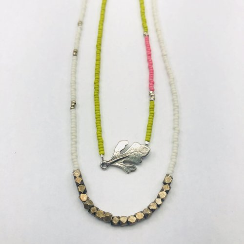 Jungle beaded necklace set one banded and one with silver oak jungle beaded necklace set one banded and one with silver oak leaf pendant aloadofball Choice Image