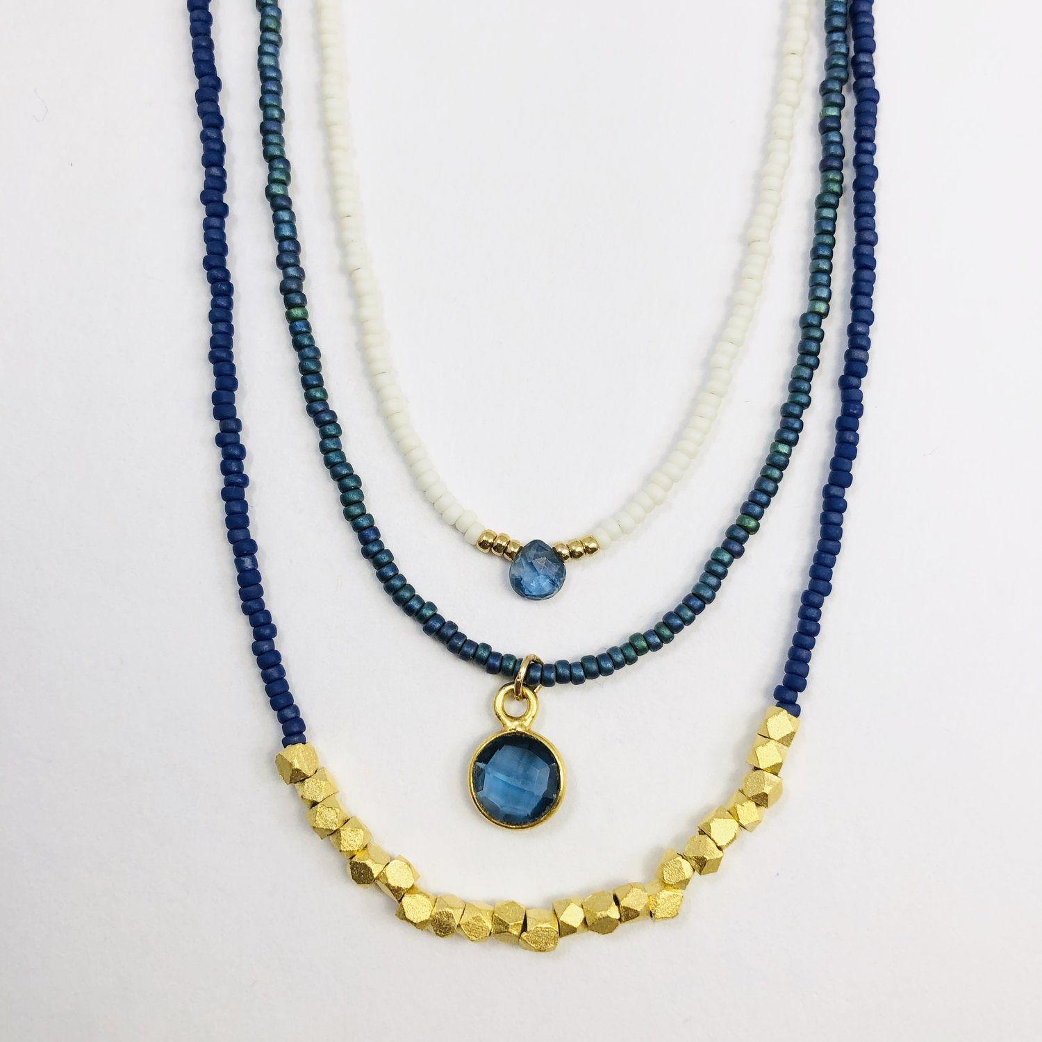 ece90132b Qi: Deep Blue Chakra Triple Beaded Necklace Set - One with small ...