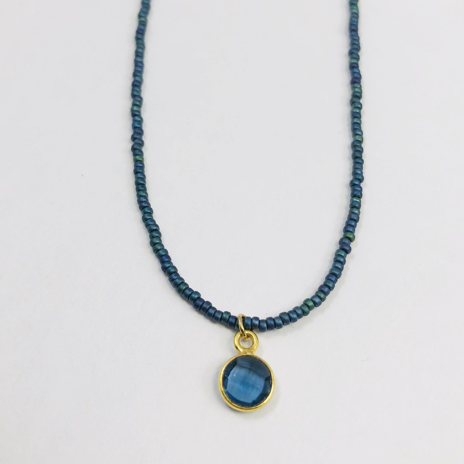 62bfacdbd Qi: Deep Blue Chakra Triple Beaded Necklace Set - One with small blue  Tourmaline, one with small round Kyanite pendant and one with gold nuggets