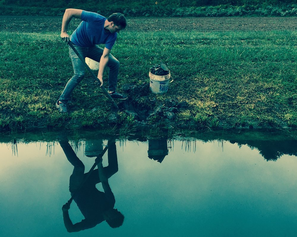 "Josh Copus digs for ""wild clay"" in the fields outside Marshall, North Carolina. (Photo by Andrew Evans)"
