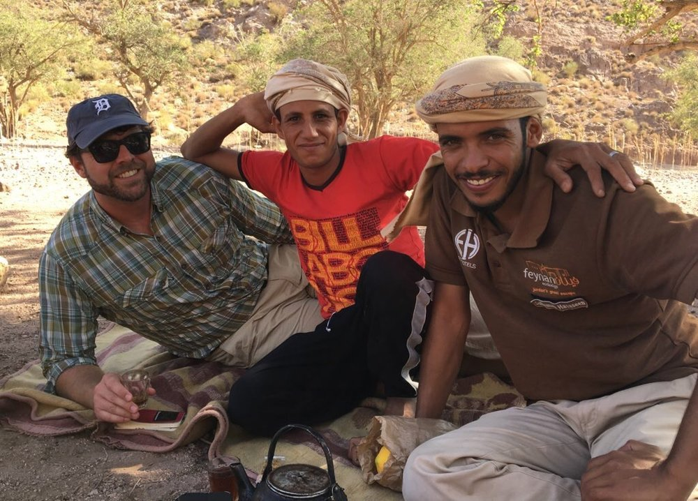 Midday tea with new friends under a pistachio tree in Dana Biosphere Reserve (Photo by Andrew Evans)