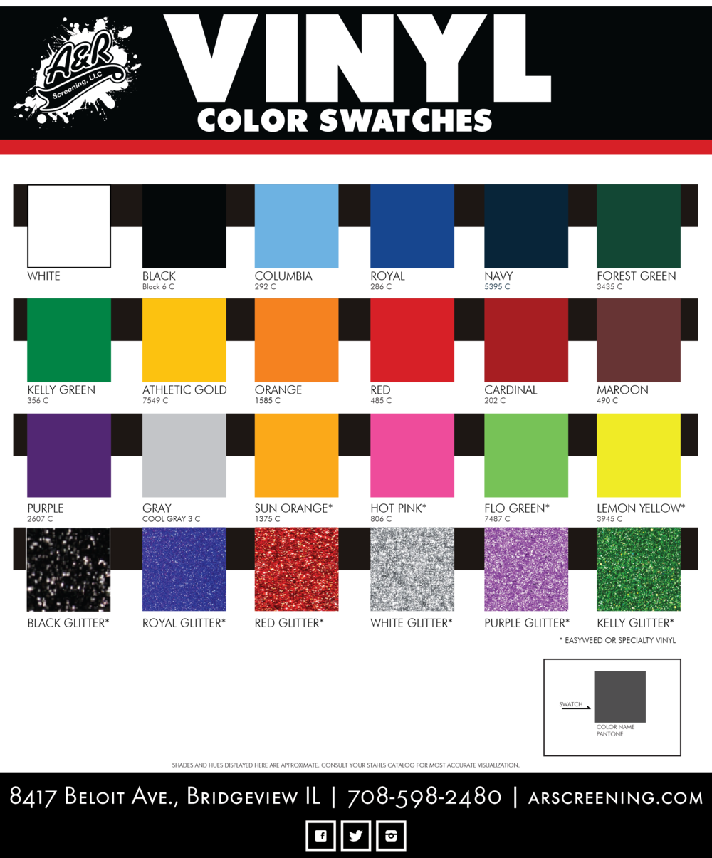 A&R Screening Stahls vinyl stock color swatches