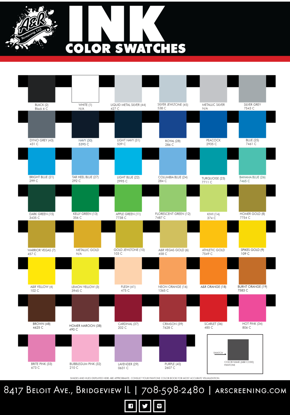A&R Screening Plastisol screen printing stock color swatches