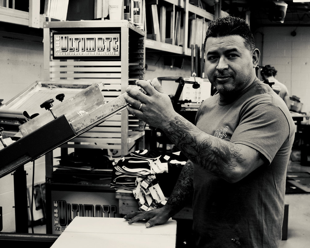Esteban Maldonado - Screen Printer (Manual Press)The Latin Lover, smooth and cool.  Cooler than the other side of the pillow.  Extremely talented.Started12/12/16
