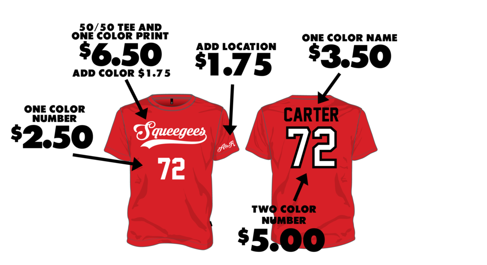 PRO JERSEY - Mix and match options! Add colors, locations, and upgrade your personalization.