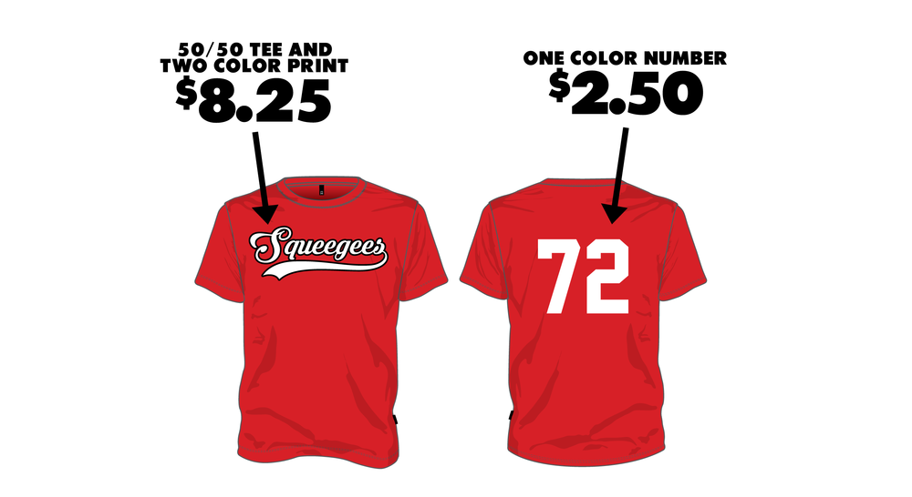 BASE JERSEY - $10.75 - Standard 50/50 tee shirt with a two color print on the front and a one color number on the back.