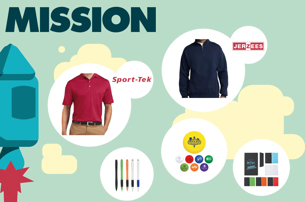 Business booster custom apparel and promotional items mission package