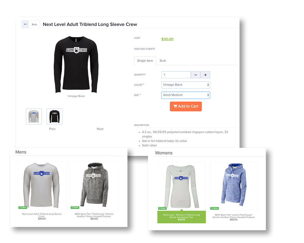 LAUNCH - You'll be given a unique code to access your store. Everyone orders and pays individually. No more collecting sizes and payments. No need to worry about extra unsold merch.All of your apparel choices with the logo on them will be added to your store.