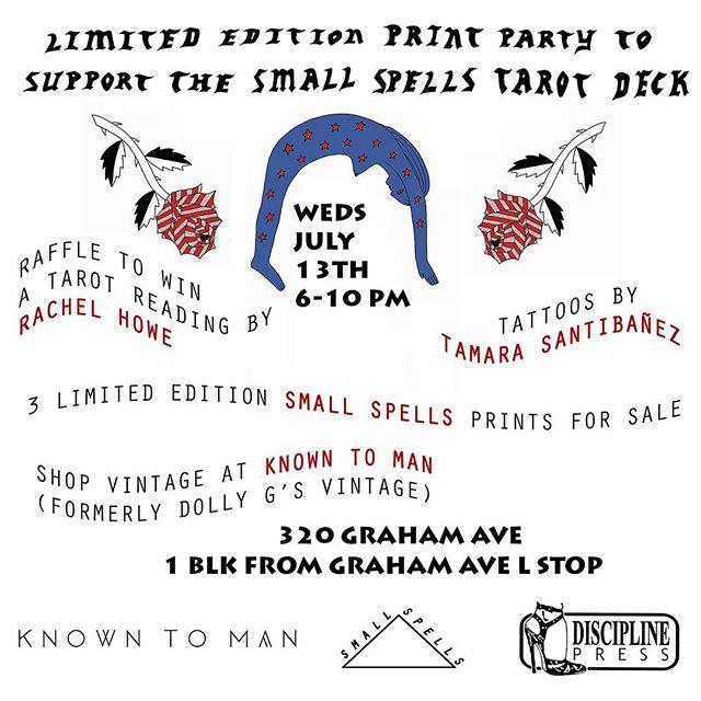 Limited edition prints! Raffle! Rosé! Tattoos! Tonight 1/2 of moonrise (@smallspells) is having an amazing fundraiser for her new ✨tarot deck✨! @dollygsvintagerules @tamarasantibanez @lqqkstudio @disciplinepress 6-10 320 Graham Ave 🌹