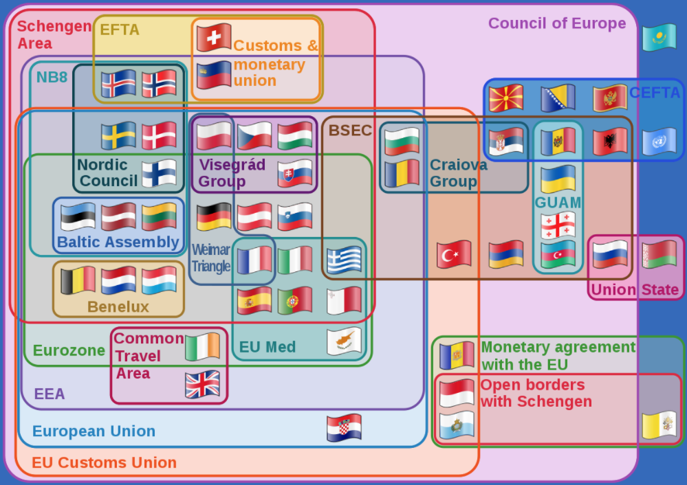 Map of Europe's customs/economic/monetary structure. There is no clear structure here.
