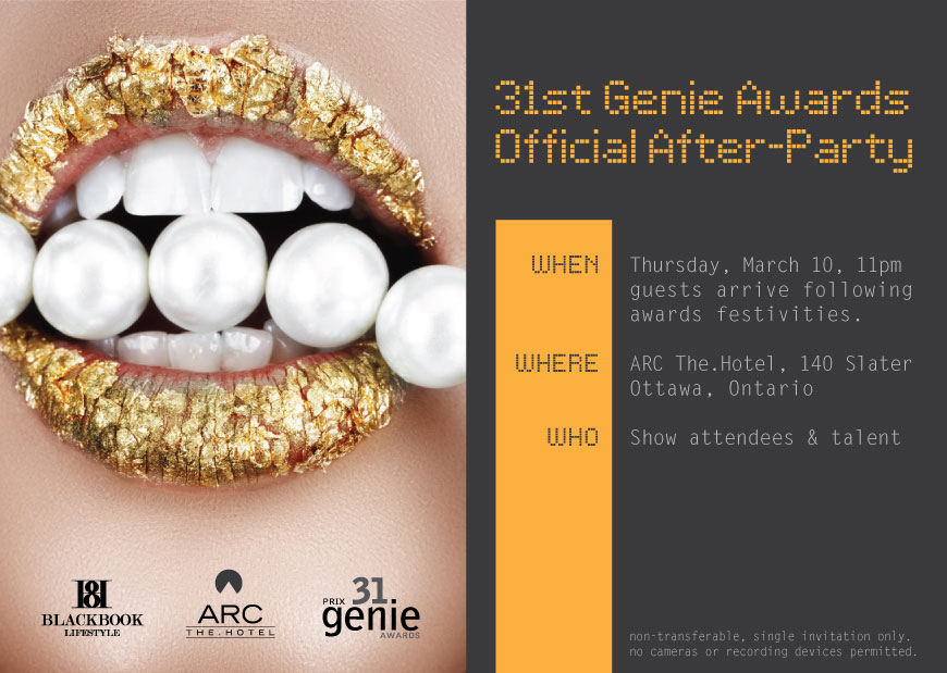 31st Genie Awards Official After-Party Invitation
