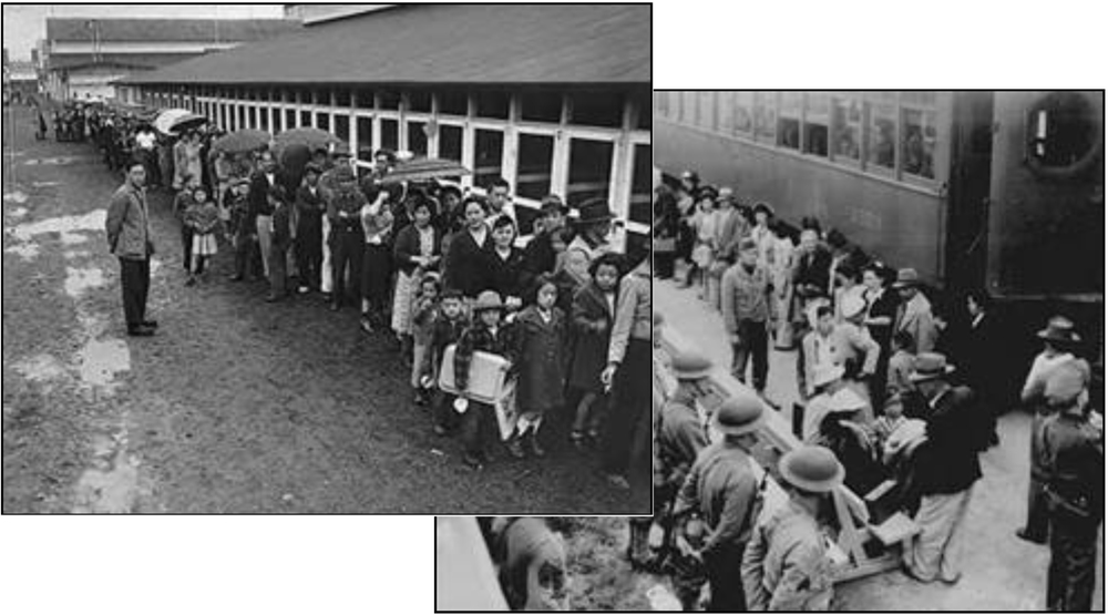 Contemporary photos of internment of Japanese American citizens during WW II