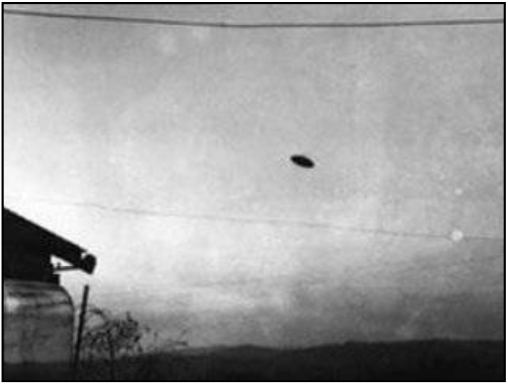 A famous photograph of a UFO sighting taken in 1950 at McMinnville, Oregon