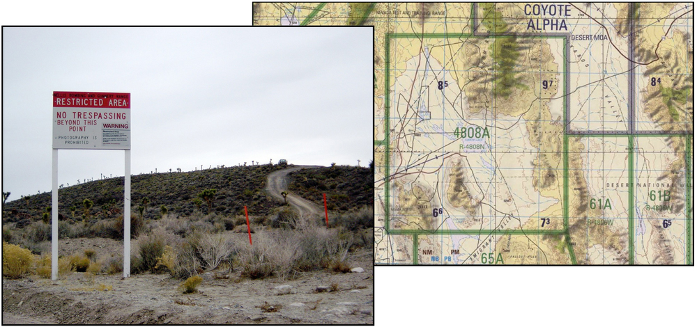 Area 51 border and warning sign — Nevada Test Range topographic chart centered on Groom Lake and showing the restricted air-space area 4808