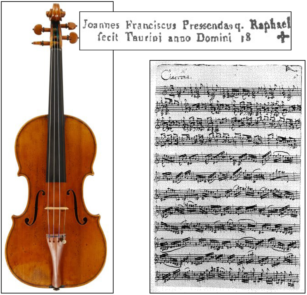 Pressenda violin and music for Bach's Partita in D Minor
