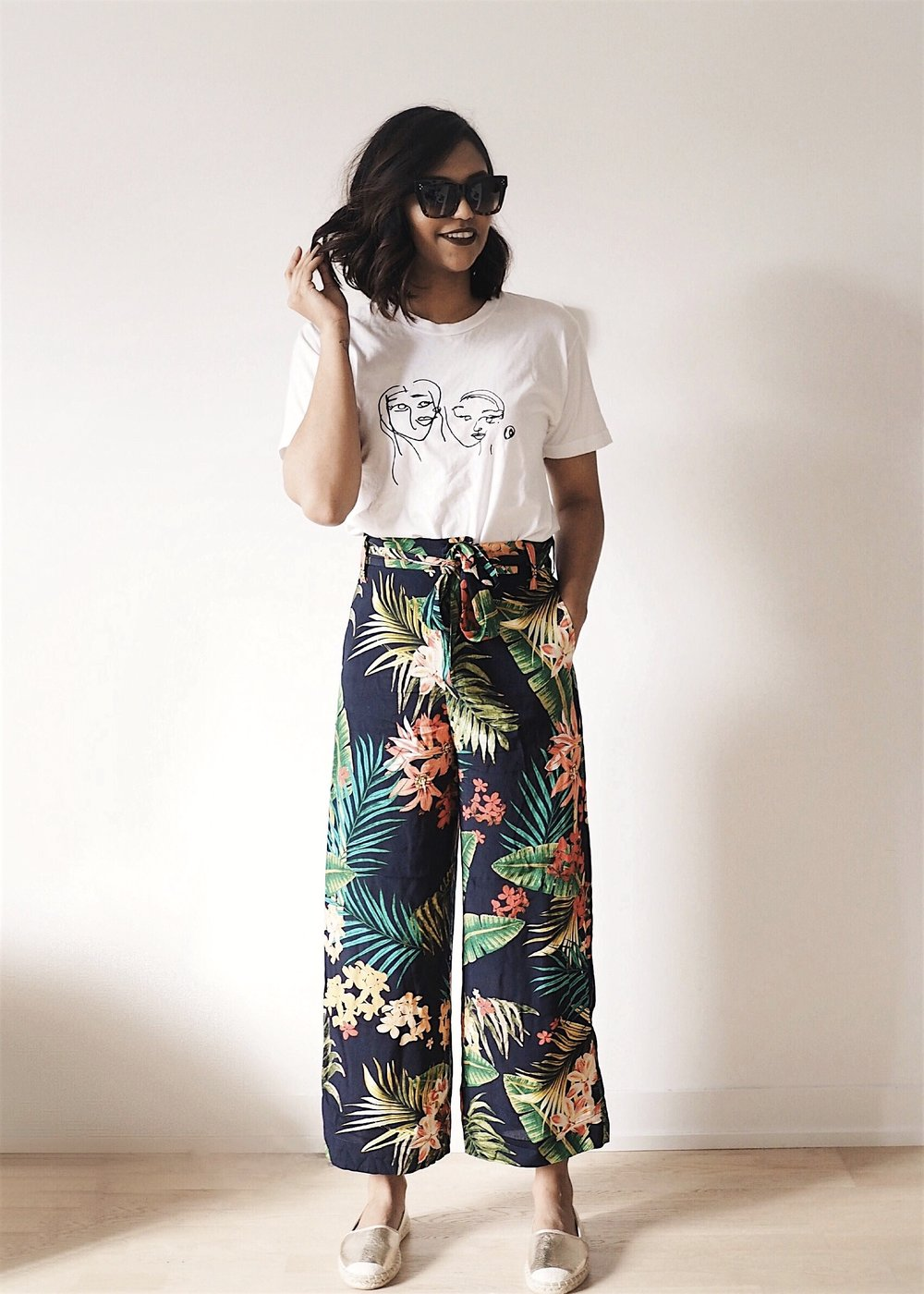 summer outfit floral culottes casual