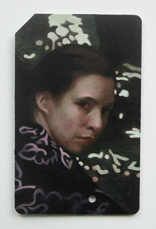 Into the Woods Study on MetroCard , 2013, Oil on gessoed MetroCard, 3.25 x 2 inches, Private collection