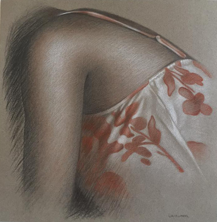 Shoulder and Floral Print Study , 2015, Charcoal and sanguine chalk on grey paper, 11 x 11 inches