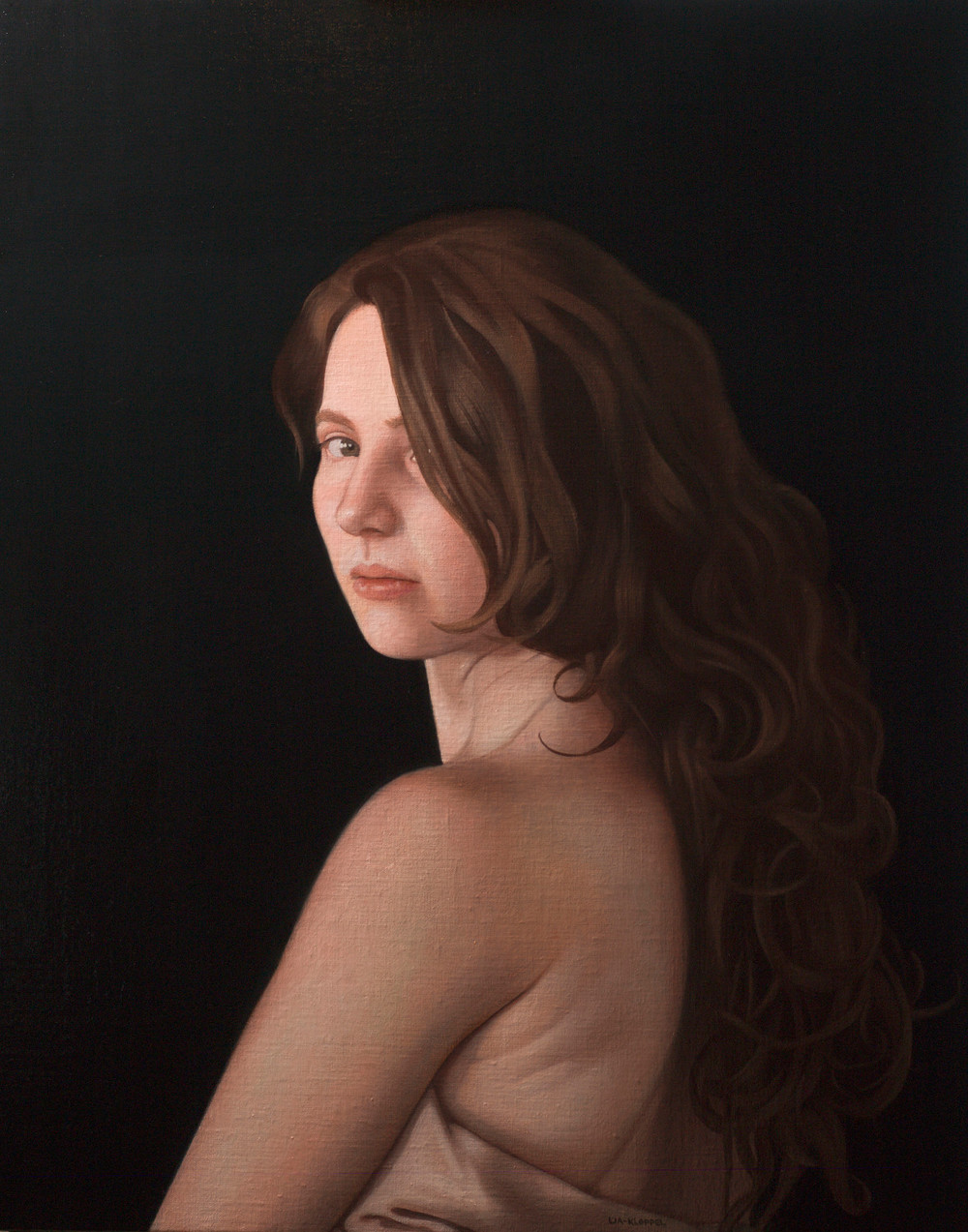 Julie Looking Back , 2015, Oil on linen, 24 x 20 inches