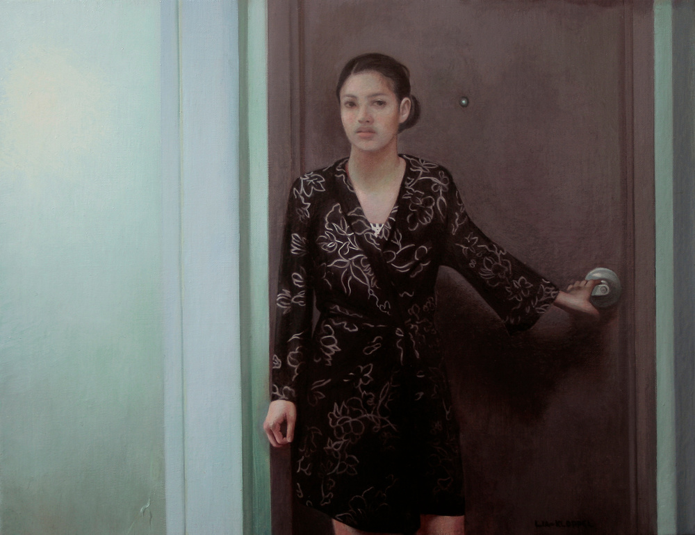 Peephole , 2014, Oil on linen, 8 x 11.5 inches, Private collection