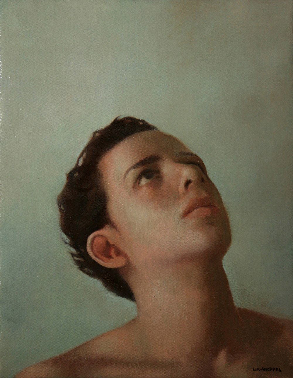 Man Looking Up, 2007, Oil on linen, 14 x 11 inches, Private collection