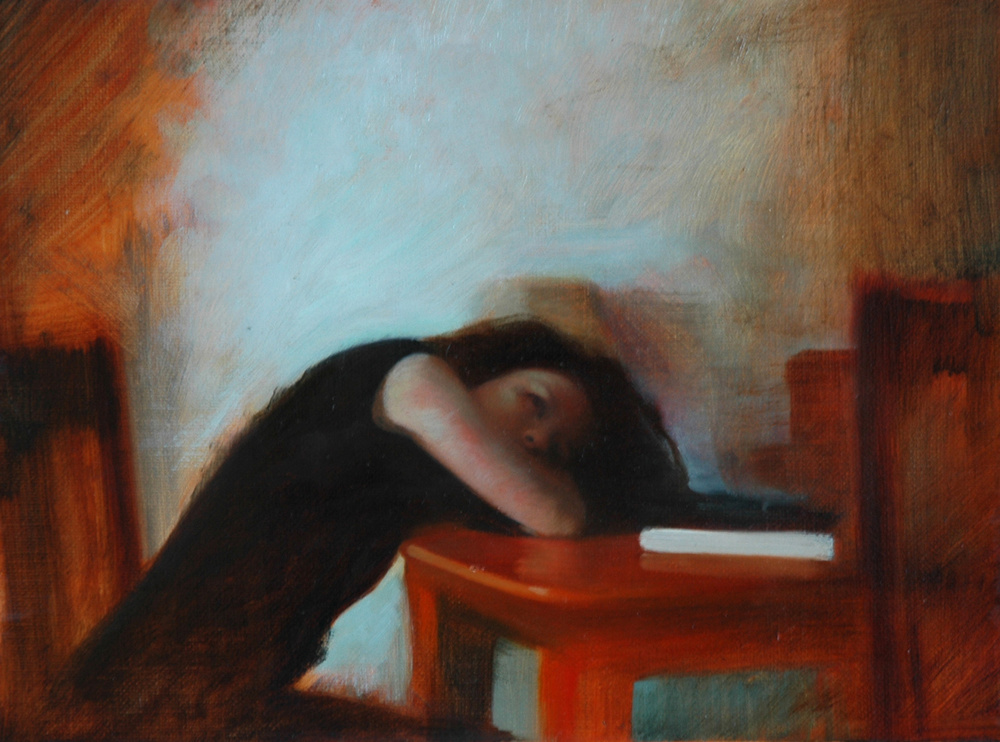 Head in Arms Study , 2007, Oil on linen, 8 x 11 inches, Private collection