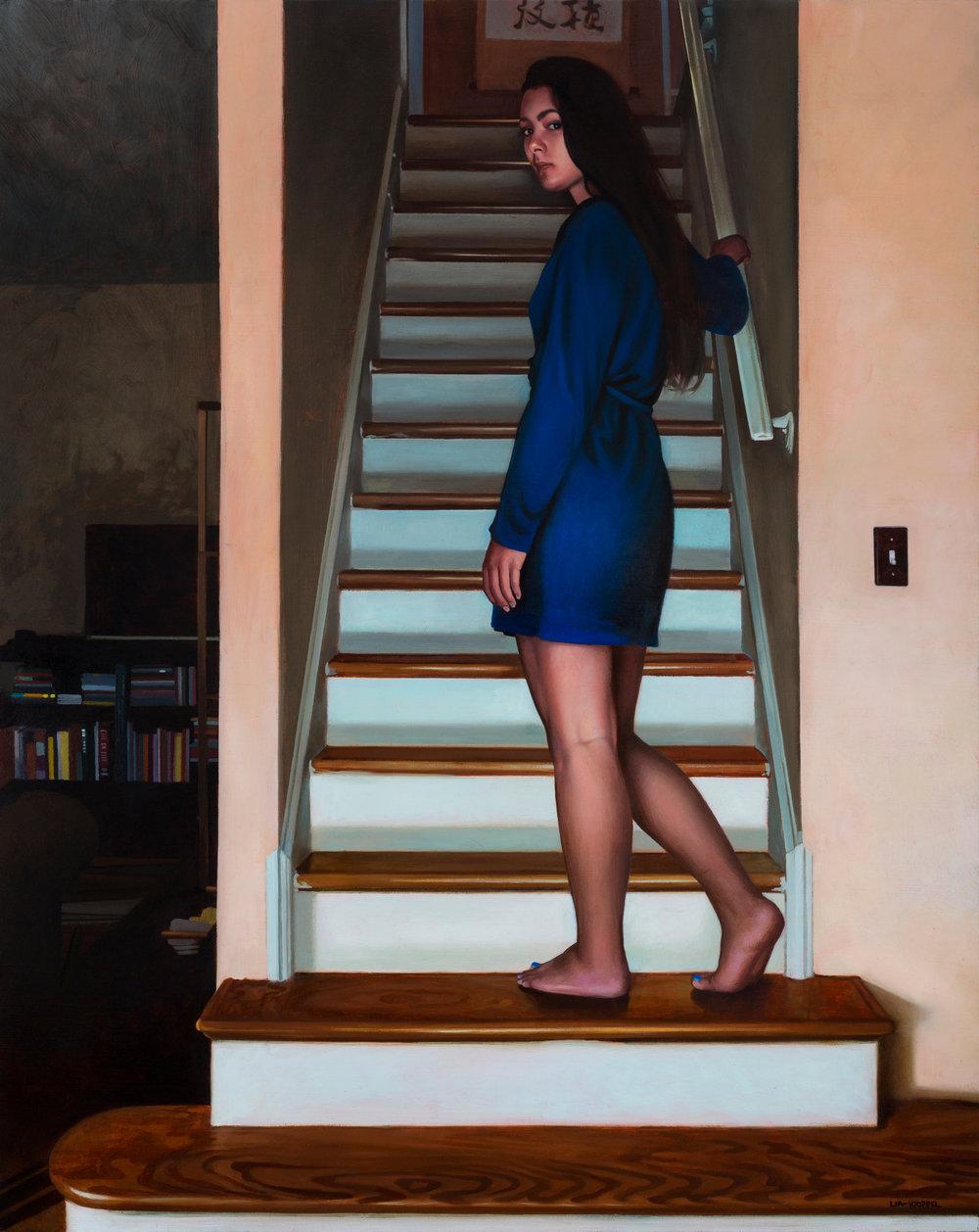 Susanna at the Dais,  2017, Oil on linen, 36 x 24 inches