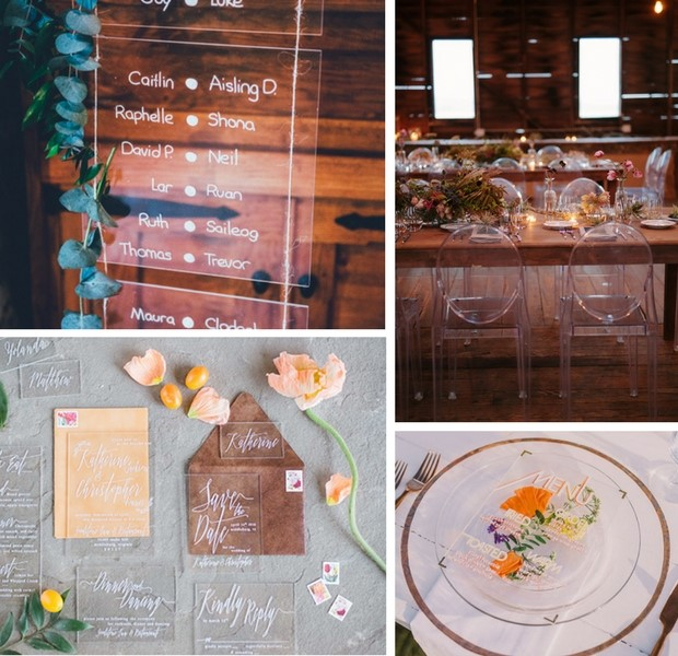 Top left: Arcylic table plan by Elk Stylist via  One Fab Day  Top right: Chairs by Classic Party Rentals via  100 Layer Cake   Bottom left: Stationery by With Wild and Grace via  One Fab Day  Bottom right: Menu by Fete and Quill via  Green Wedding Shoes