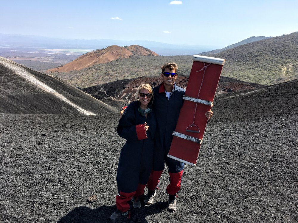 Our cool suits and the board used to go down Cerro Negro - the only Active Volcano you can board down!