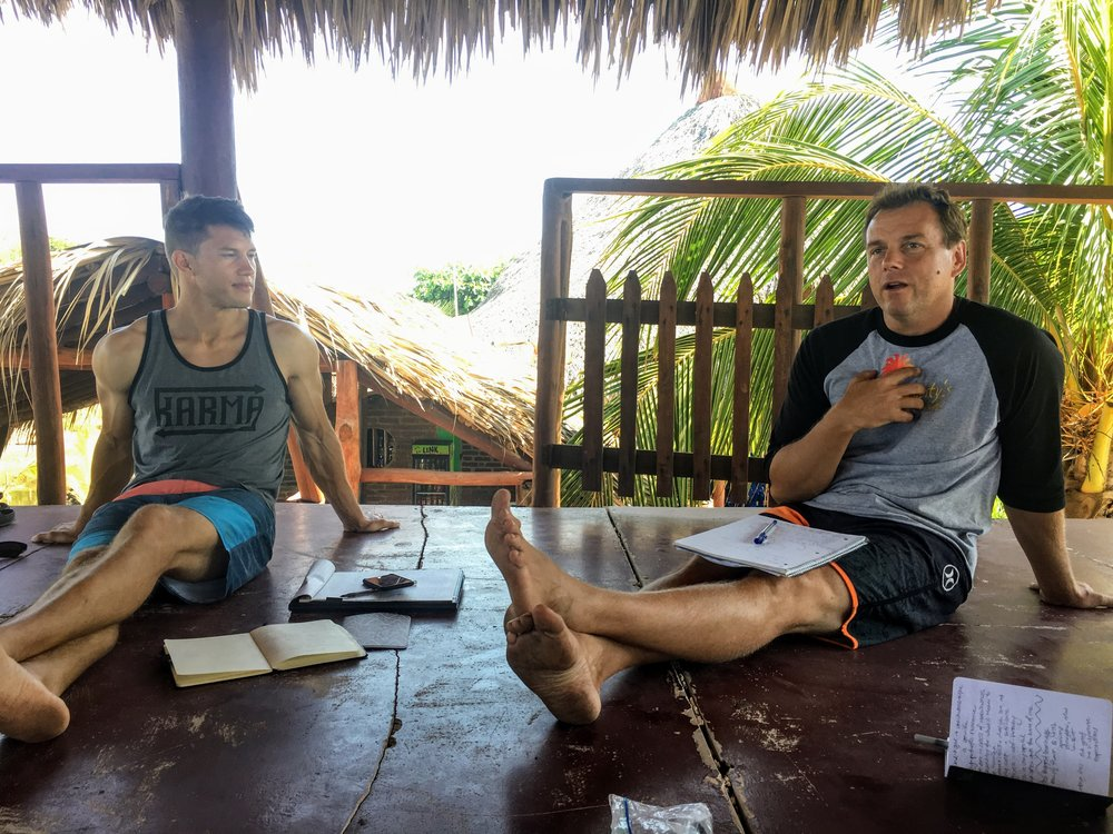 Monty (right) sharing his story during a workshop led by Mike (left) on finding and pursuing your passion during the Journey Retreat.