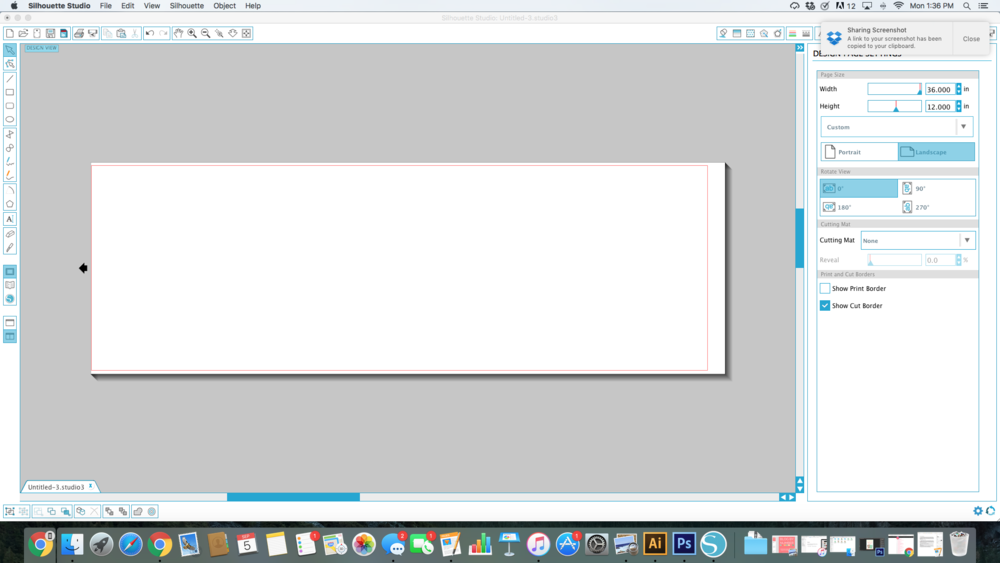 I set my document to equal the size of my canvas!