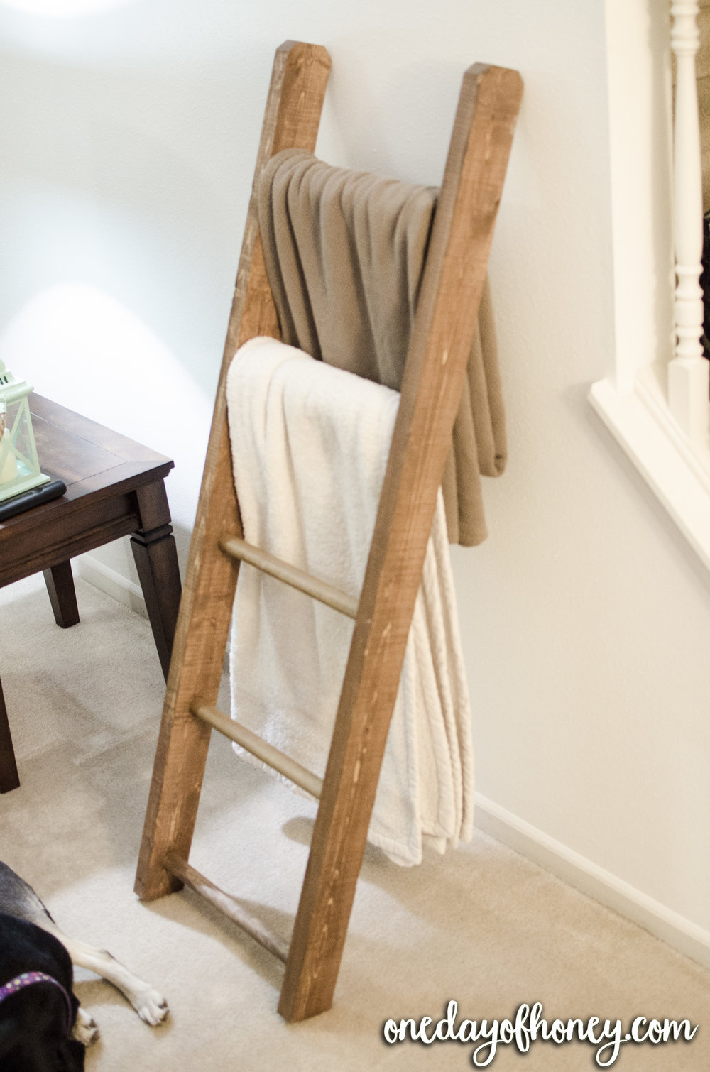 Build A Blanket Ladder For Less Than $20 | With very little investment and very little mechanical skill, you can build a blanket ladder to help with your blanket storage! Find out how to make your own right here: http://bit.ly/blanketladder1