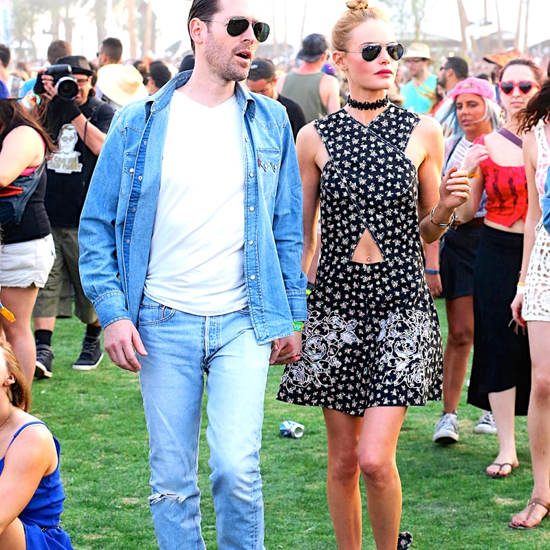 Kate Bosworth and husband Michael Polish get cozy on Day 2 at the Coachella Music Festival in Indio, CA