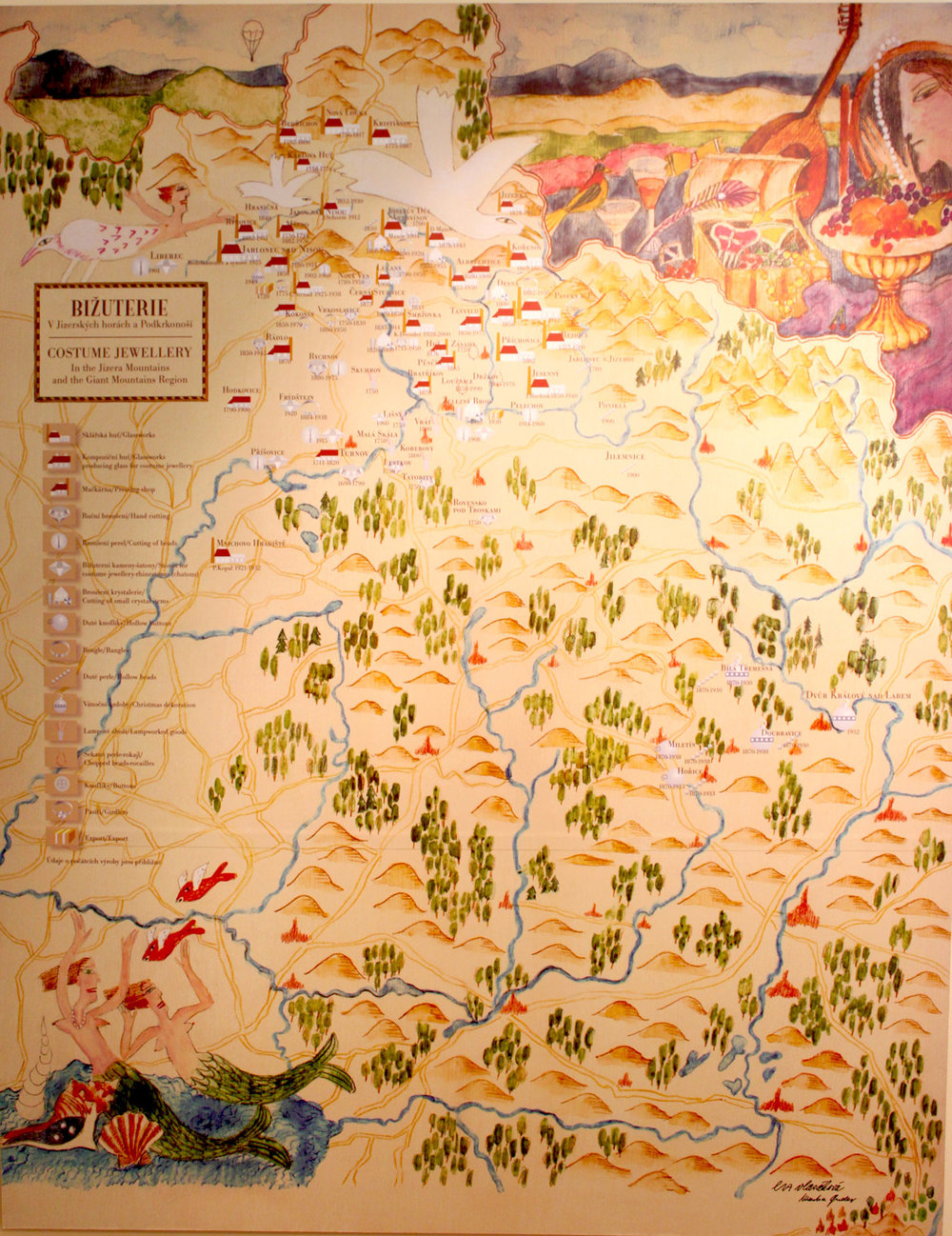 A village map from the  Jablonec Glass Museum  collection with icons representing the locations of glassworks, pressing shops, handcutting, buttons, lamp work, table cut beads, glass Christmas decorations and other specialities.