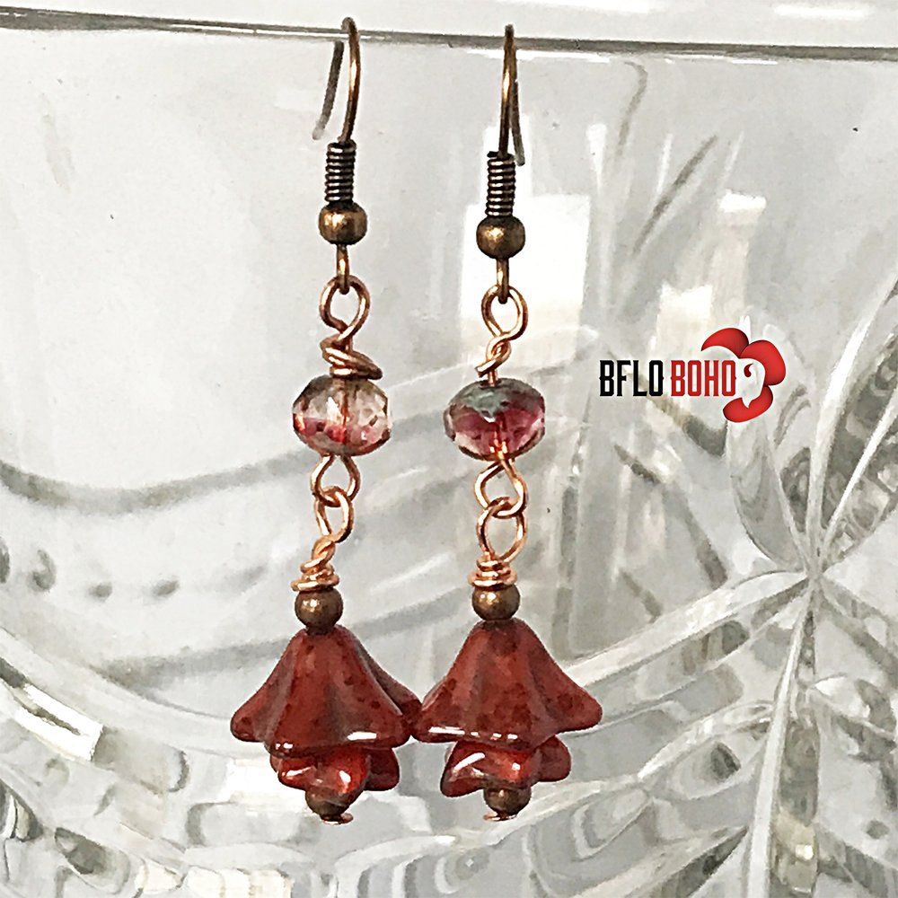 Indulge yourself in the beauty of simple earrings made spectacular with the gorgeous glass of Jablonec