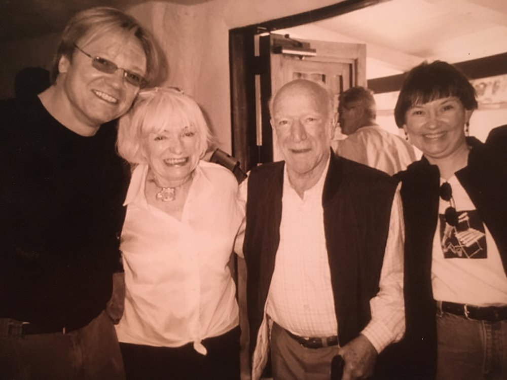 Carl and Suzie flank the late wine legends Robert and Magrit Mondavi in Napa Valley the day Chateau Buffalo was born.