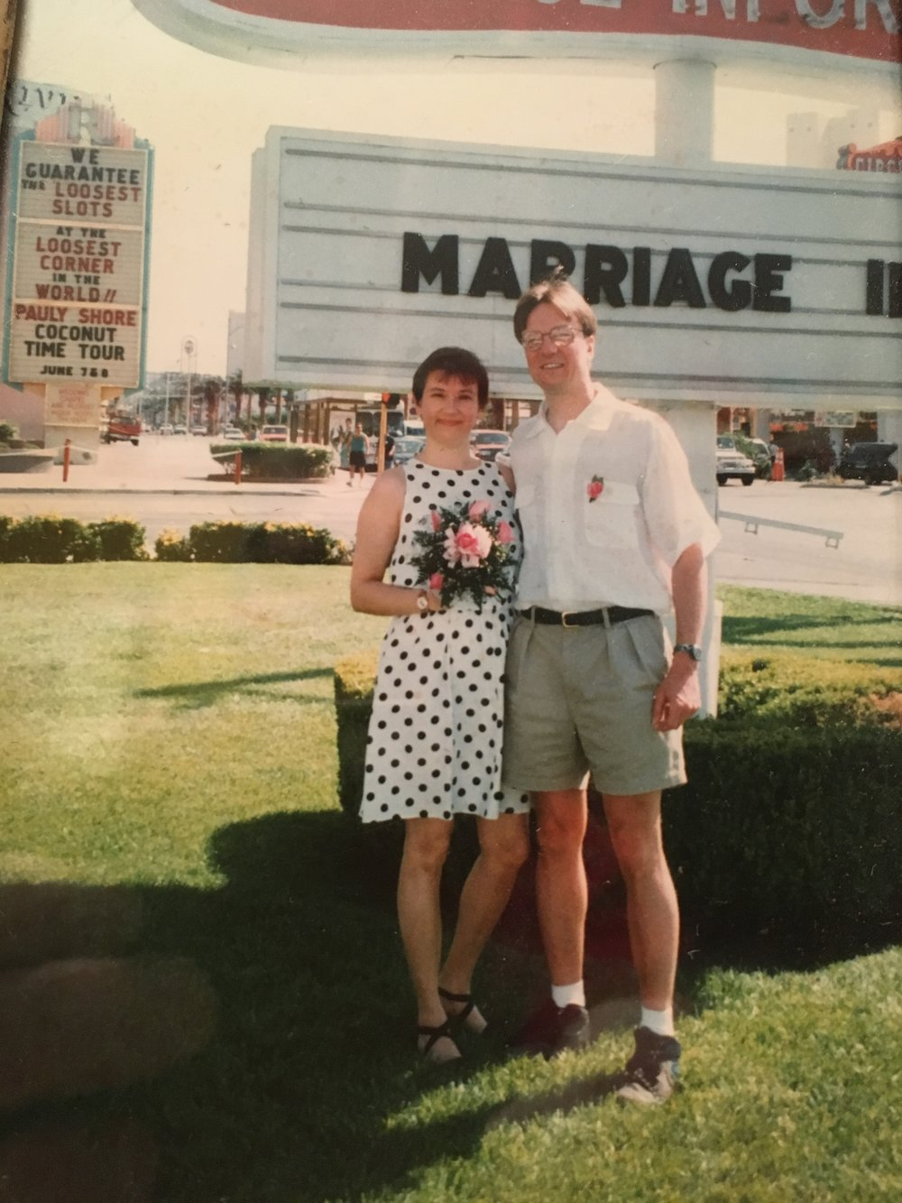 Newlyweds Carl and Suzie immediately following their Vegas nuptials - before they sent their postcard announcements.