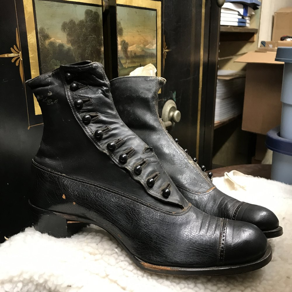 M Steffan's Sons made these shoes in the 1800s - today we do some neat things with the leftover shoe buttons