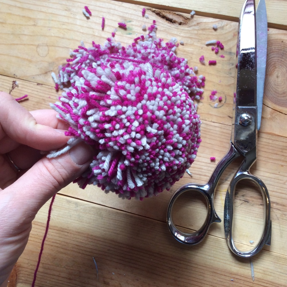Your sharp scissors are your best friends for pompom trimming.