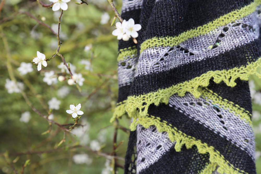 "Mon Sheepworks Shawl in ""Sur les toits de Paris"", which translates to ""On the roofs of Paris""- sigh!"
