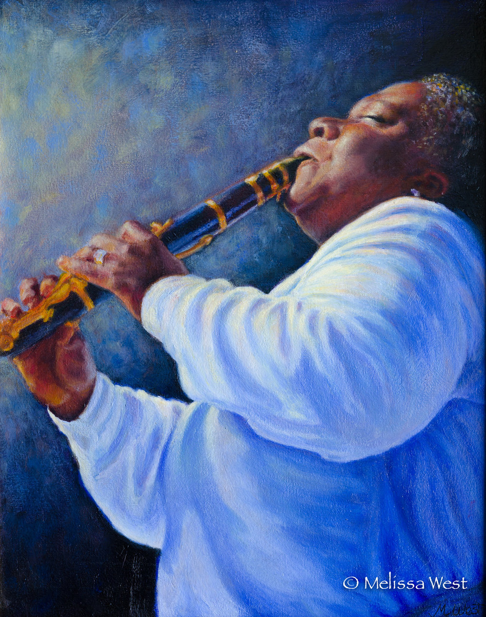 DOREEN'S BLUES, 18x24-in, Acrylic, Private Collection